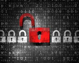 Security concept Lock on digital screen, illustration